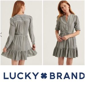Lucky Brand Dress Ruffle Striped Shift Long Sleeve